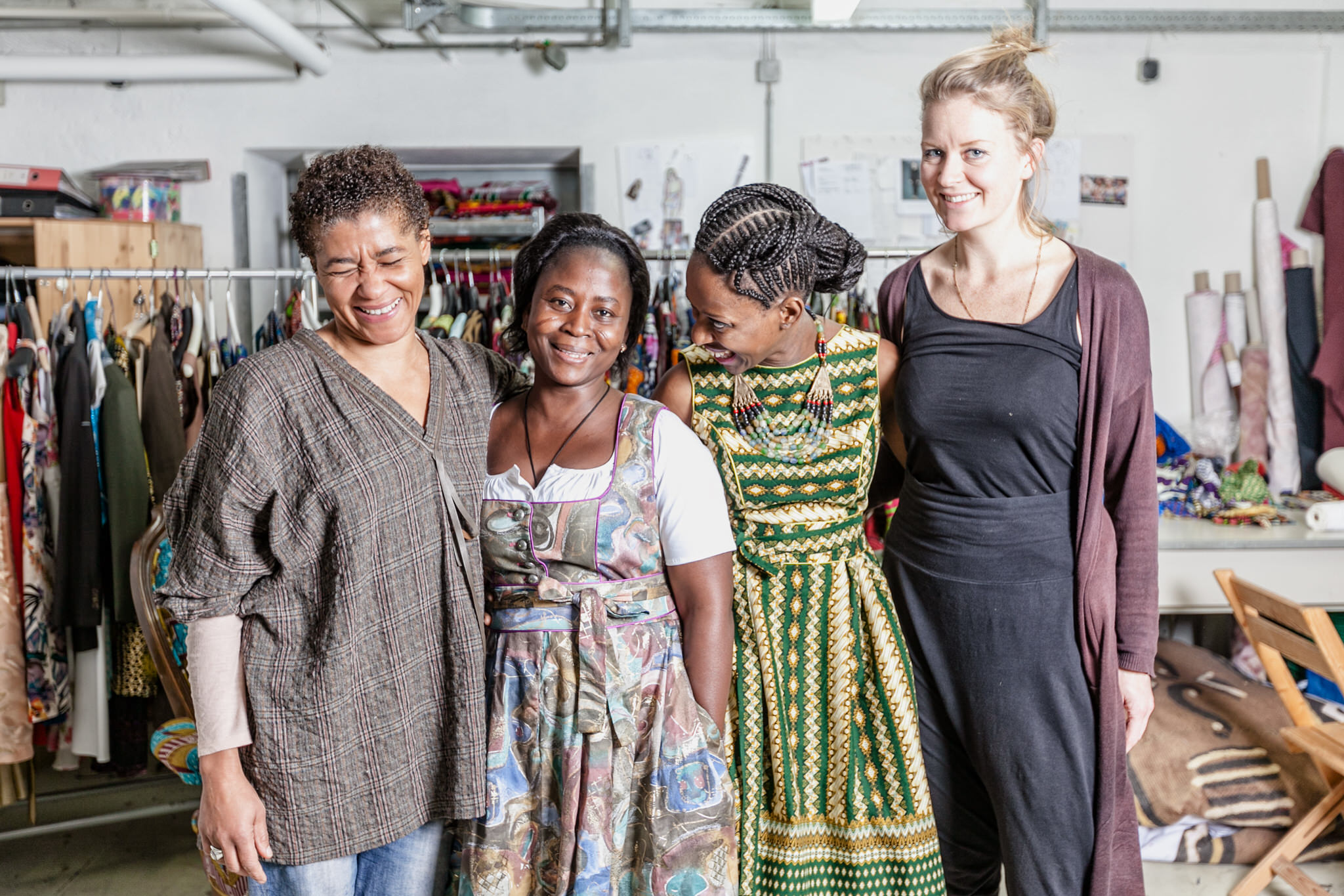 Photo: Left to right:  Rahmee Wetterich (Owner of NOH NEE), Justine (intern from Benin), Philadelphia, Cosima Peth (NOH NEE employee & stylist)